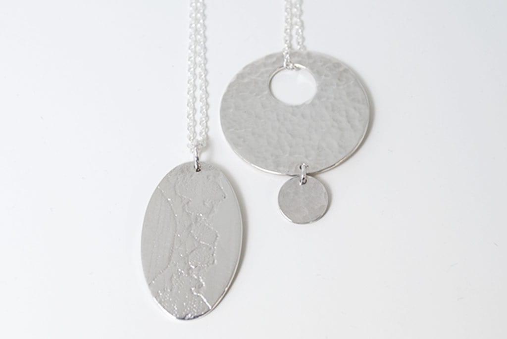 Silver textured pendants